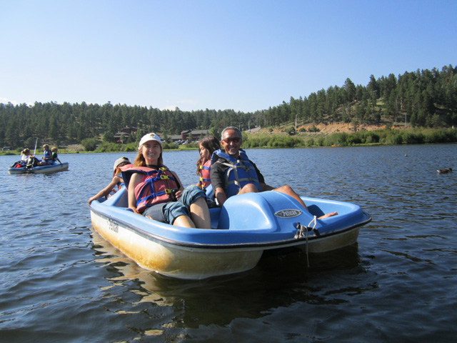Mary Mohammed And Kids In A Paddle Boat Evergreen Colorado