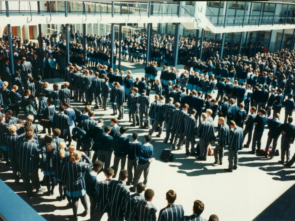 Windhoek High School students lined up for assembly, Windhoek, Namibia, 1997