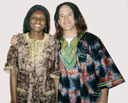 Greg and Joanitha with wigs and African shirts, Fort Collins, Colorado, 2004