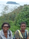 Joanitha and friend with view of Musira Island, Bukoba, Tanzania, 2008
