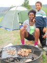 Joanitha and Joachim with grill and tent, Rocky Mountain NP, Colorado, 2011