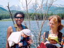 """Joanitha and Joachim, Mary and Tariq at Sprague Lake"", Rocky Mountain NP, Colorado, 2005"