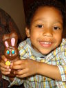 Joachim with a chocolate bunny, Fort Collins, Colorado, 2009