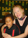 Joachim with kindergarten teacher Mrs. K, Fort Collins, Colorado, 2011