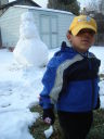 Joachim with snowman, Fort Collins, Colorado, 2008