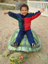 Joachim on a turtle, Fort Collins, Colorado, 2007