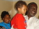 Joachim greeted by grandpa Vicent in his house, Busimbe, Tanzania, 2008