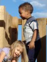 Maddy and Joachim on a playground, Fort Collins, Colorado, 2008