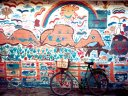 bicycle and mural, Swakopmund, Namibia, 1997