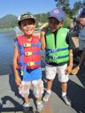 Tariq and Joachim with life jackets, Evergreen, Colorado, 2011